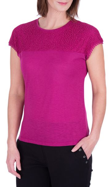 Anna Rose Lace Trim Jersey Top Magenta - Gallery Image 2