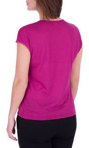 Anna Rose Lace Trim Jersey Top Magenta - Gallery Image 3