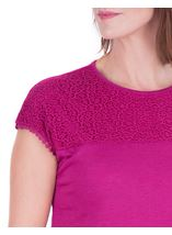 Anna Rose Lace Trim Jersey Top Magenta - Gallery Image 4