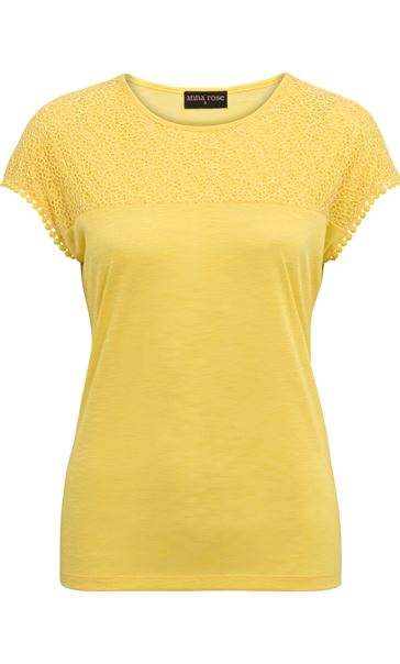Anna Rose Lace Trim Jersey Top Yellow