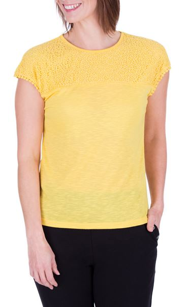 Anna Rose Lace Trim Jersey Top Yellow - Gallery Image 2
