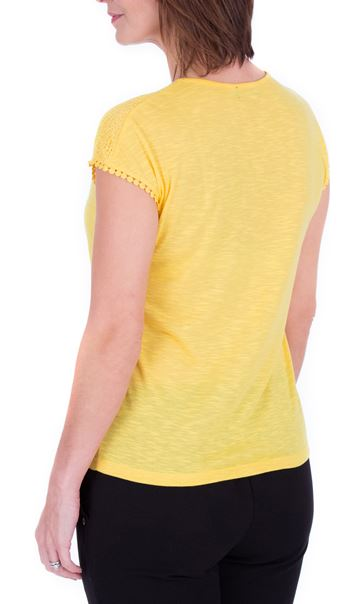 Anna Rose Lace Trim Jersey Top Yellow - Gallery Image 3