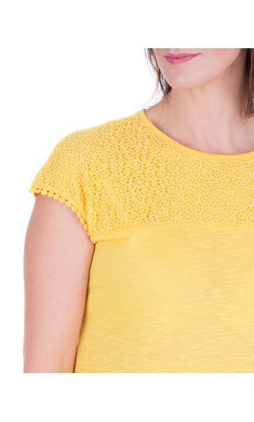 Anna Rose Lace Trim Jersey Top Yellow - Gallery Image 4