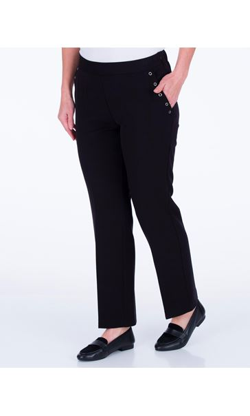 Anna Rose Straight Leg Trousers 27 Inch Black - Gallery Image 2