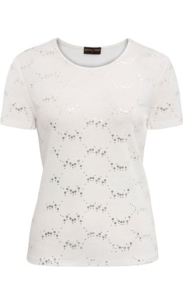 Anna Rose Textured Short Sleeve Top Ivory