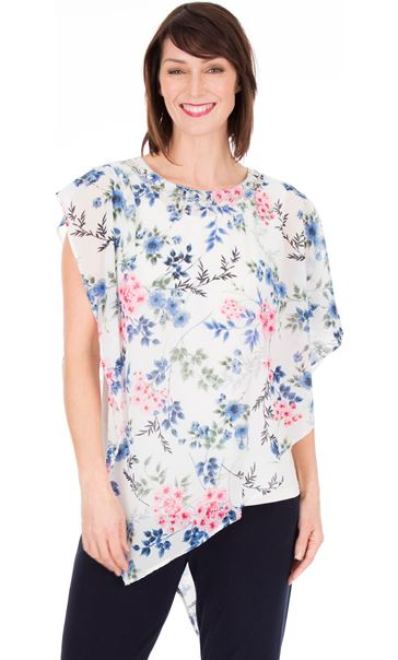 Embellished Floral Chiffon Layer Top Ivory Multi