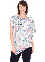 Embellished Floral Chiffon Layer Top Ivory Multi - Gallery Image 1