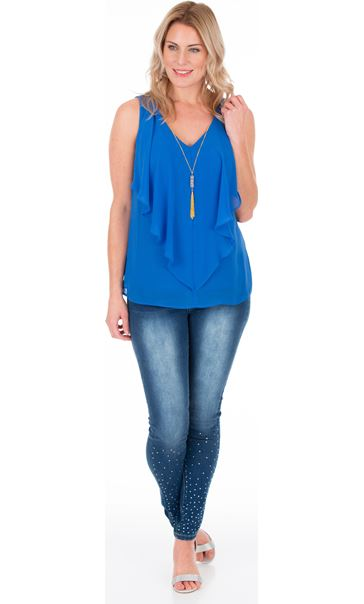 Frill Front Chiffon Top With Necklace Strong Blue