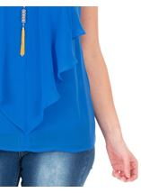 Frill Front Chiffon Top With Necklace Strong Blue - Gallery Image 3