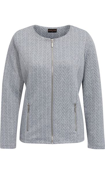 Anna Rose Zip Jacket With Lurex Grey Marl/Silver