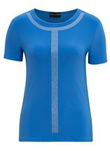 Anna Rose Lightweight Embellished Top Blue - Gallery Image 1