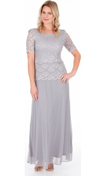 Short Sleeve Lace And Mesh Maxi Dress Silver Grey