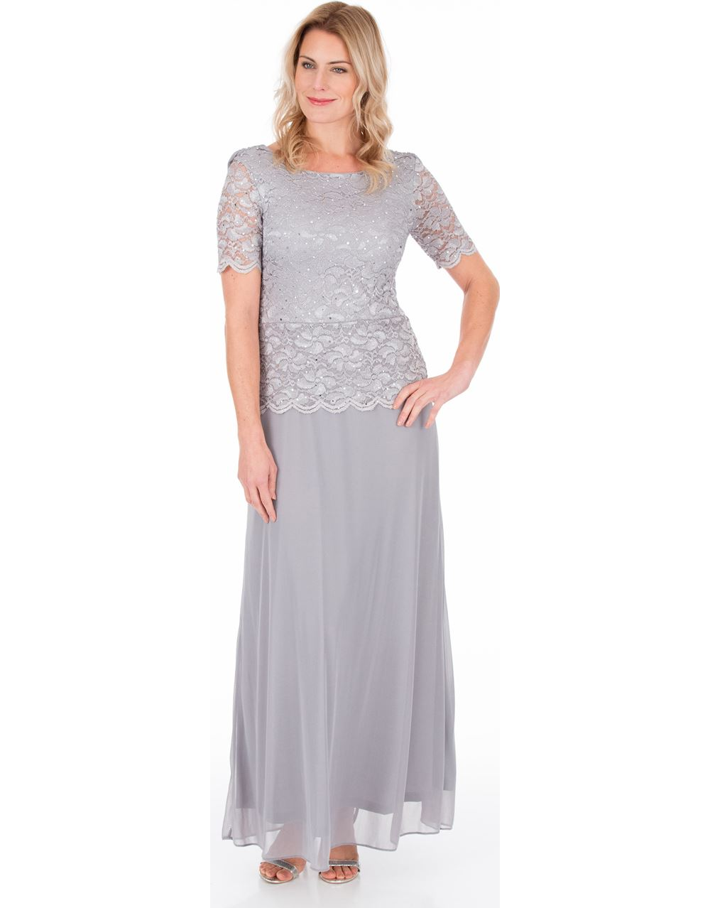 68284ca4df Short Sleeve Lace And Mesh Maxi Dress - Silver Grey