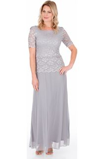 Short Sleeve Lace And Mesh Maxi Dress