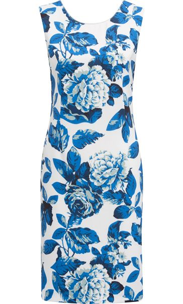 Anna Rose Sleeveless Bold Floral Midi Dress Ivory/Blue