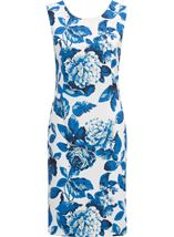Anna Rose Sleeveless Bold Floral Midi Dress Ivory/Blue - Gallery Image 1