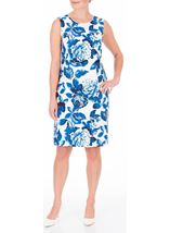 Anna Rose Sleeveless Bold Floral Midi Dress Ivory/Blue - Gallery Image 2