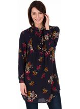 Long Sleeve Pintuck Floral Tunic