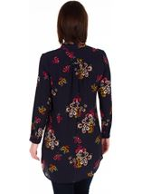 Long Sleeve Pintuck Floral Tunic Navy/Pink - Gallery Image 2