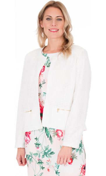 Crochet Long Sleeve Open Jacket White