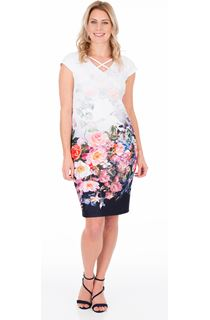 Floral Border Print Midi Scuba Dress