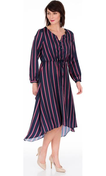 Long Sleeve Striped Dip Hem Dress Navy/Pink