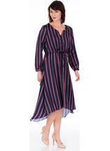 Long Sleeve Striped Dip Hem Dress Navy/Pink - Gallery Image 1