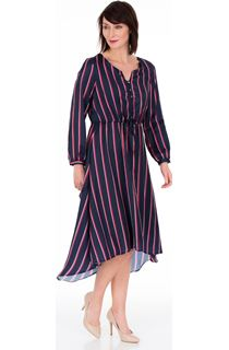 Long Sleeve Striped Dip Hem Dress