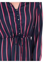 Long Sleeve Striped Dip Hem Dress Navy/Pink - Gallery Image 3
