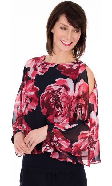 Printed Chiffon Layered Cold Shoulder Top Midnight/Watermelon