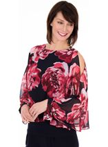 Printed Chiffon Layered Cold Shoulder Top Midnight/Watermelon - Gallery Image 1