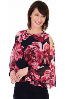 Printed Chiffon Layered Cold Shoulder Top
