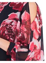 Printed Chiffon Layered Cold Shoulder Top Midnight/Watermelon - Gallery Image 3