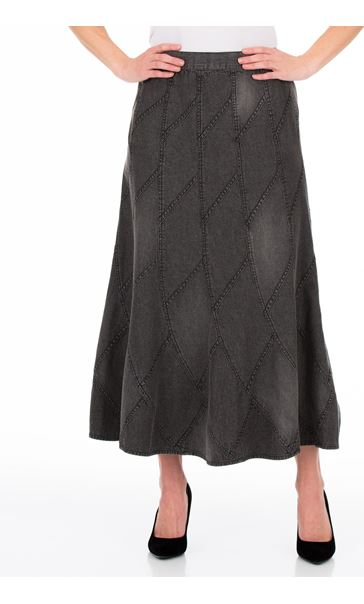 Panelled Denim Maxi Skirt Grey