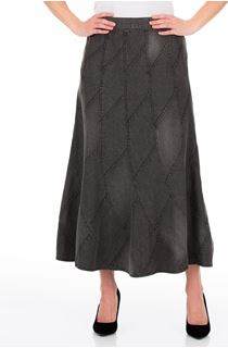 Panelled Denim Maxi Skirt - Grey