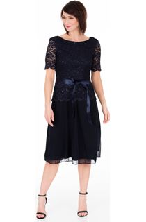 Short Sleeve Lace And Mesh Midi Dress