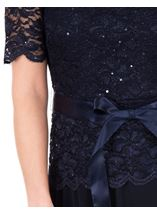 Short Sleeve Lace And Mesh Midi Dress Midnight - Gallery Image 3
