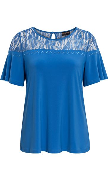 Anna Rose Lace Panel Short Sleeve Top Strong Blue