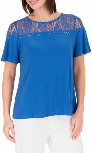 Anna Rose Lace Panel Short Sleeve Top Strong Blue - Gallery Image 2