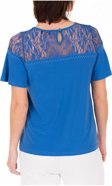 Anna Rose Lace Panel Short Sleeve Top Strong Blue - Gallery Image 3