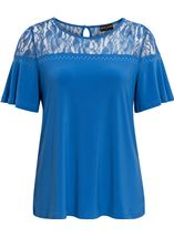 Anna Rose Lace Panel Short Sleeve Top Strong Blue - Gallery Image 1