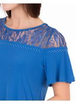 Anna Rose Lace Panel Short Sleeve Top Strong Blue - Gallery Image 4