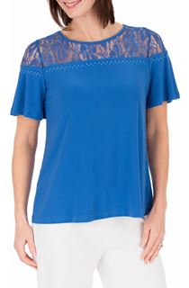 Anna Rose Lace Panel Short Sleeve Top