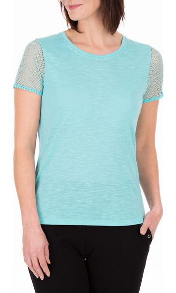 Anna Rose Short Lace Sleeve Top Aqua
