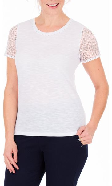 Anna Rose Short Lace Sleeve Top White