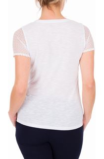 Anna Rose Short Lace Sleeve Top - White