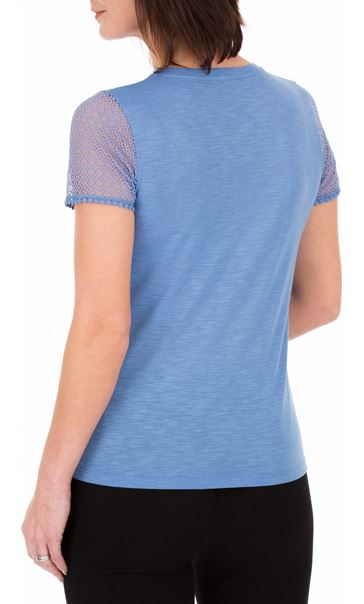 Anna Rose Short Lace Sleeve Top Cornflower - Gallery Image 2