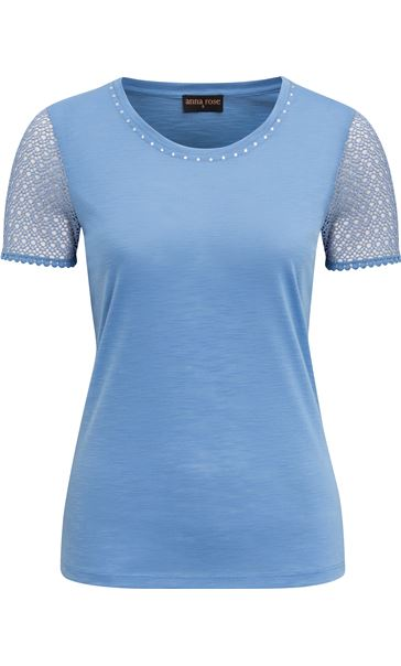 Anna Rose Short Lace Sleeve Top Cornflower - Gallery Image 4