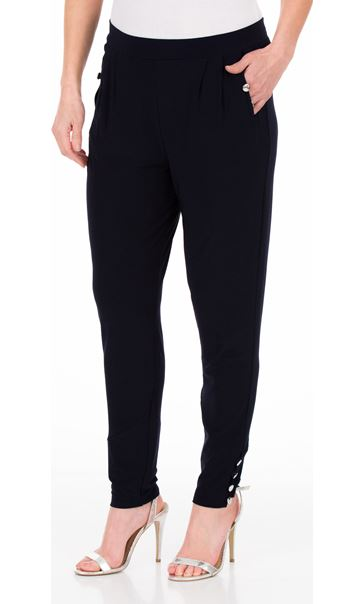 Tapered Button Stretch Trousers Midnight