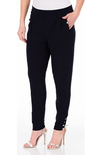Tapered Button Stretch Trousers